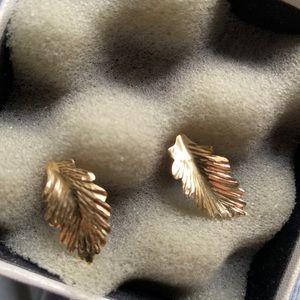 14k gold leaf earrings